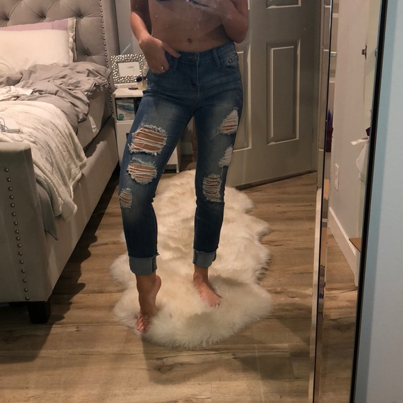 search for best low cost big discount Cello Jeans distressed boyfriend jeans